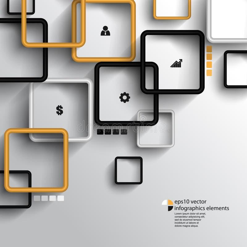 Vetor que sobrepõe o fundo geométrico do infographics dos quadrados ilustração do vetor