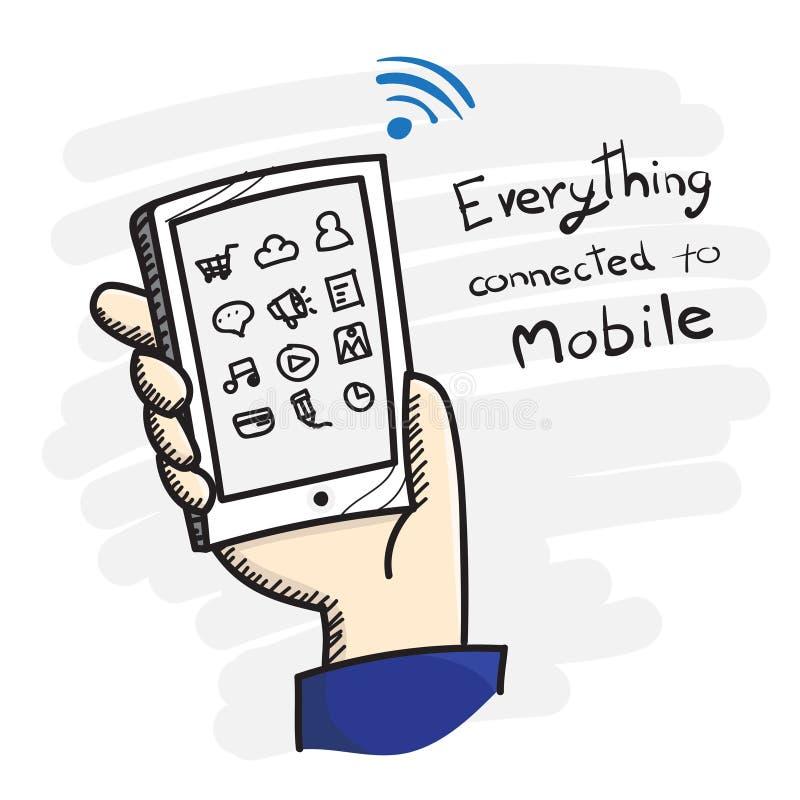 Vetor: Rabiscar a mão do estilo que guarda o telefone esperto com ícone do app e ilustração do vetor
