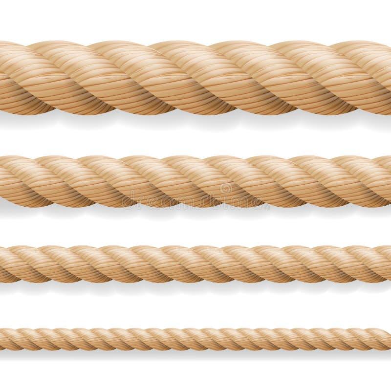 Vetor realístico da corda Grupo diferente da corda da espessura isolado no fundo branco Ilustração de linhas grossas náuticas tor ilustração royalty free