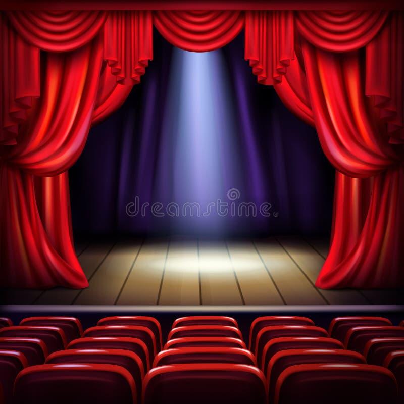 Vetor realístico da fase vazia da sala de concertos ilustração do vetor