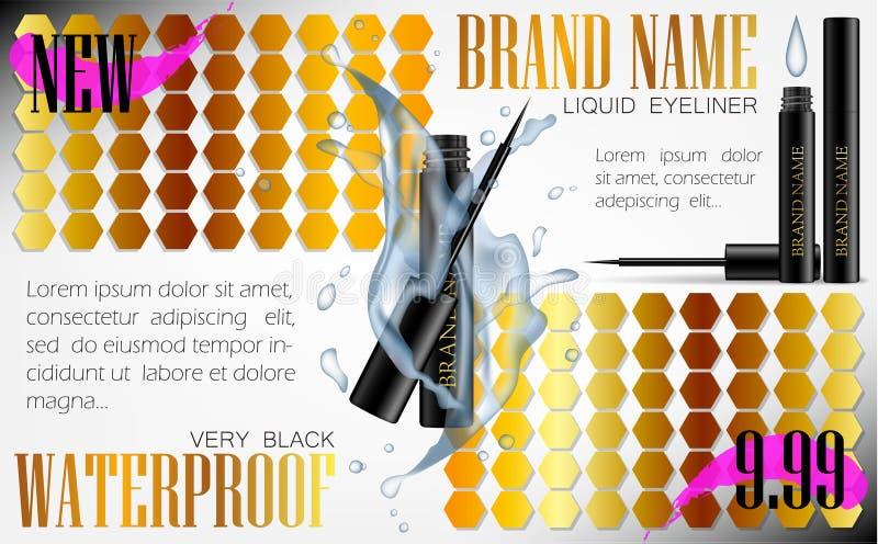 vetor realístico da pena do lápis de olho 3d na caixa preta com respingo da água ilustração royalty free