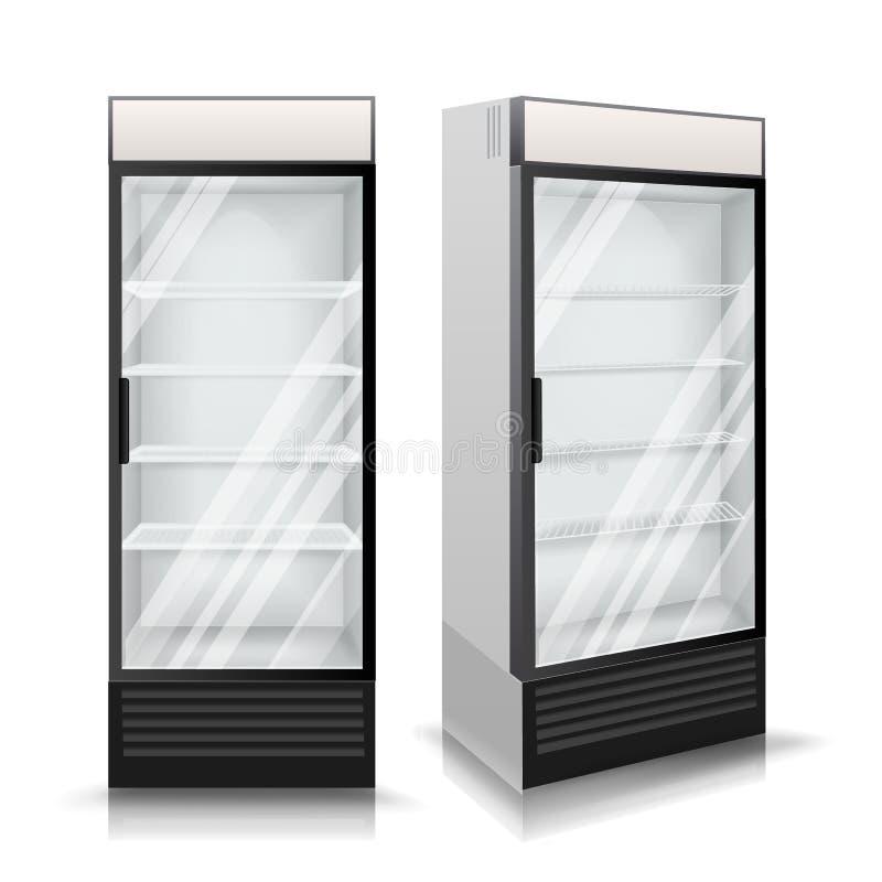 Vetor realístico do refrigerador Bebidas refrigerando Ilustração ilustração stock