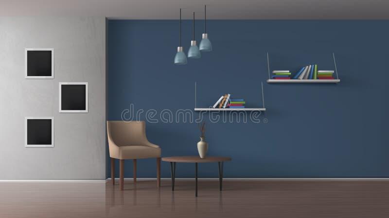 Vetor realístico interior minimalistic do café do livro ilustração royalty free