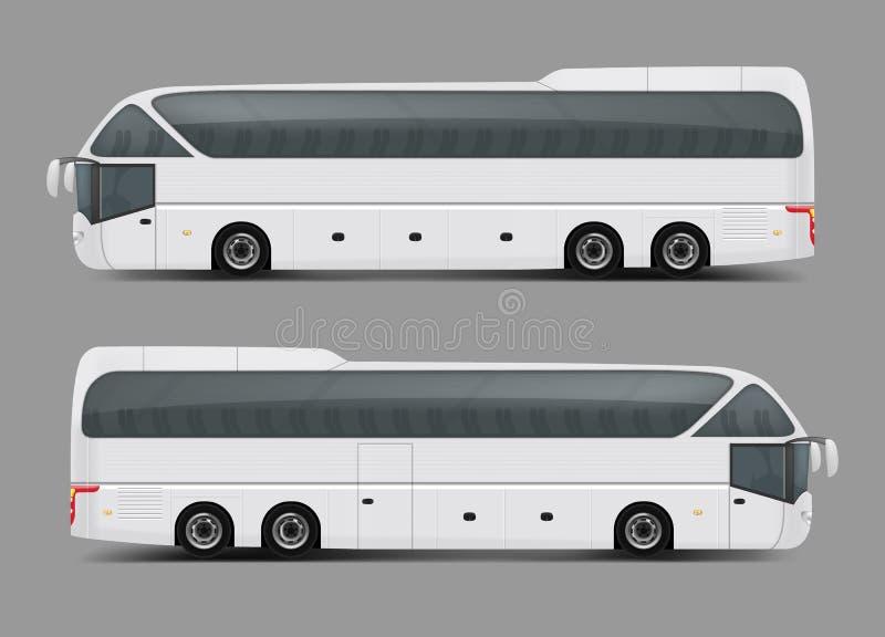 Vetor realístico privado do ônibus da excursão ou do treinador da carta patente ilustração royalty free
