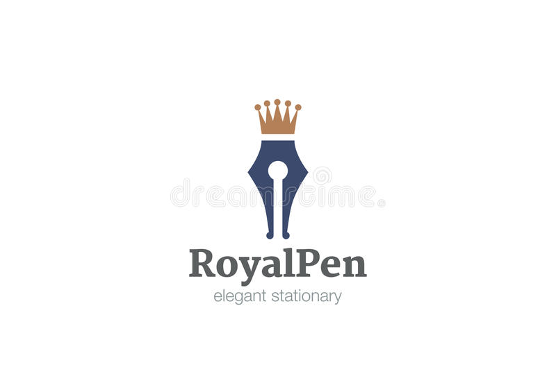 Vetor real do projeto do logotipo da coroa da pena ilustração royalty free