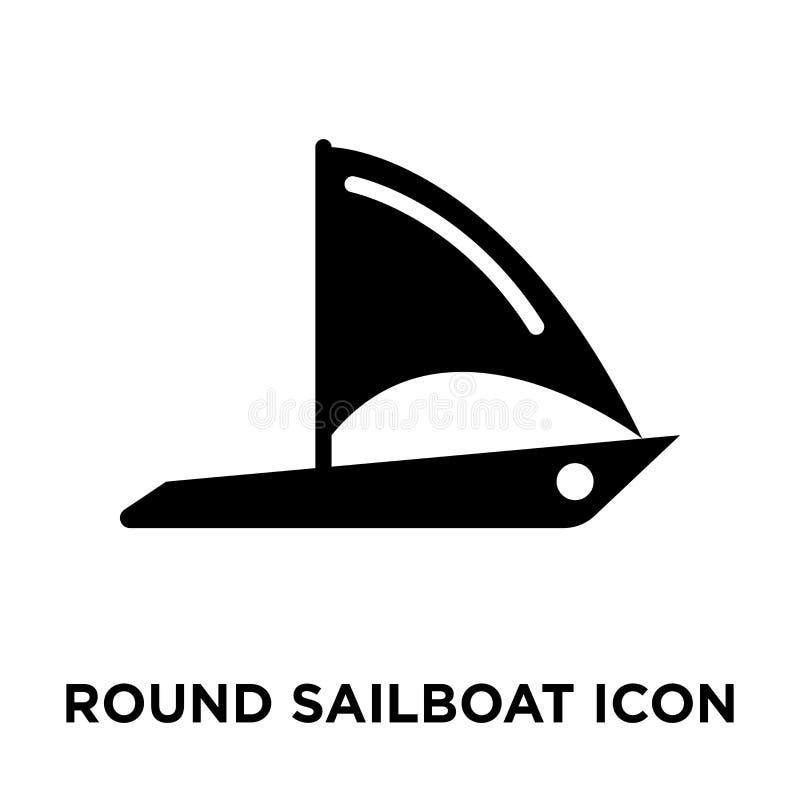 Vetor redondo do ícone do veleiro isolado no fundo branco, logotipo co ilustração do vetor