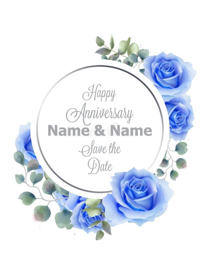 Vetor redondo do cartão do quadro da aquarela azul das flores das rosas Cumprimento do aniversário do vintage, convite do casamen ilustração royalty free