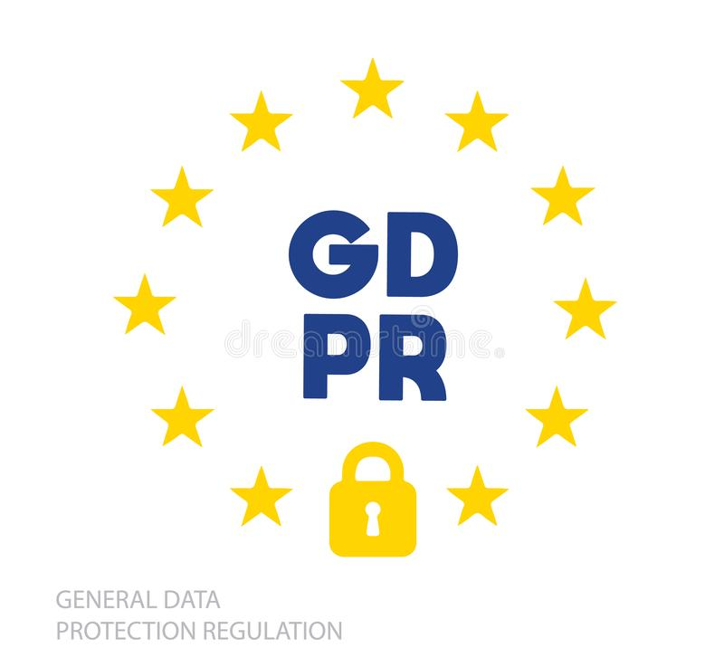 Vetor regulamentar da bandeira da proteção de dados geral do símbolo ilustração do vetor
