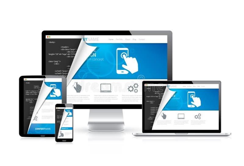 Vetor responsivo do design web com roteiro do código do HTML no fundo ilustração do vetor