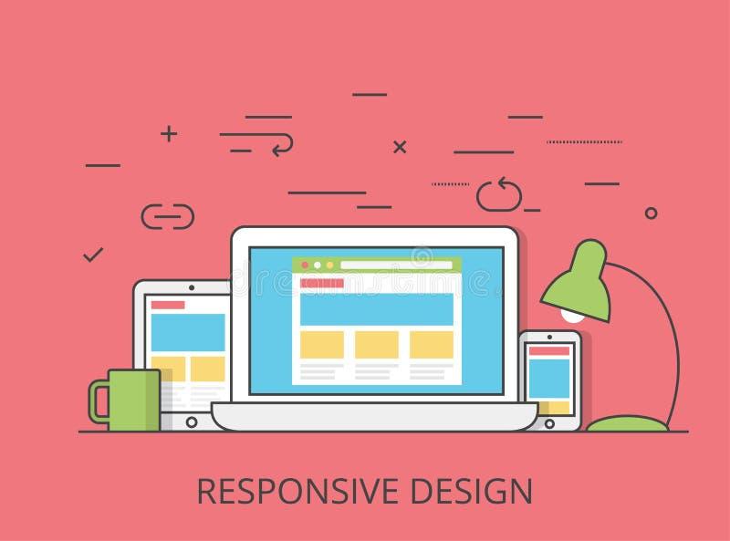 Vetor responsivo do design web do software liso linear ilustração do vetor