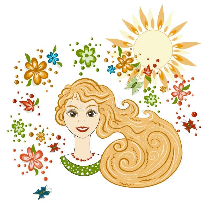 Vetor, retrato de uma menina bonita, mola Flores e sol, cartão, mola do inseto e tema do verão ilustração do vetor