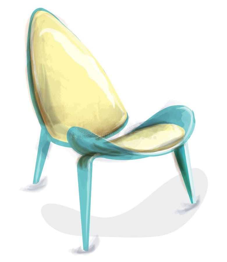 Vetor retro azul da aquarela da cadeira Mobílias do vintage da decoração do projeto ilustração do vetor