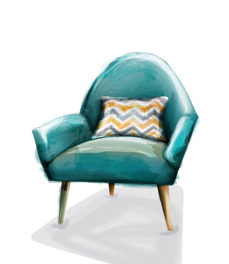 Vetor retro azul da aquarela da poltrona Mob?lias do vintage da decora??o do projeto ilustração stock