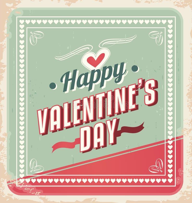 Vetor retro do cartão do dia de Valentim ilustração royalty free