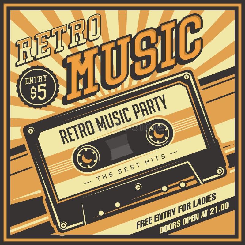 Vetor retro do cartaz do Signage do vintage da gaveta do estojo compacto da música ilustração do vetor