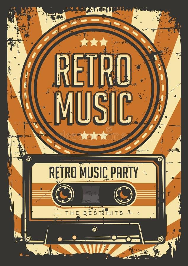 Vetor retro do cartaz do Signage do vintage da gaveta do estojo compacto da música ilustração stock