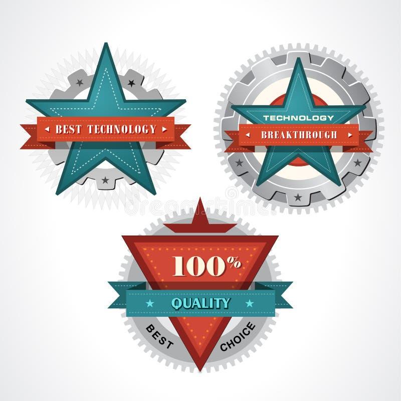 Vetor retro do emblema da estrela da tecnologia do selo do vintage ilustração stock