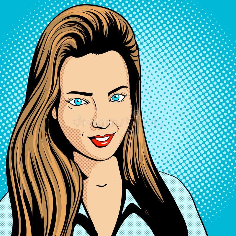 Vetor retro do pop art da jovem mulher ilustração royalty free