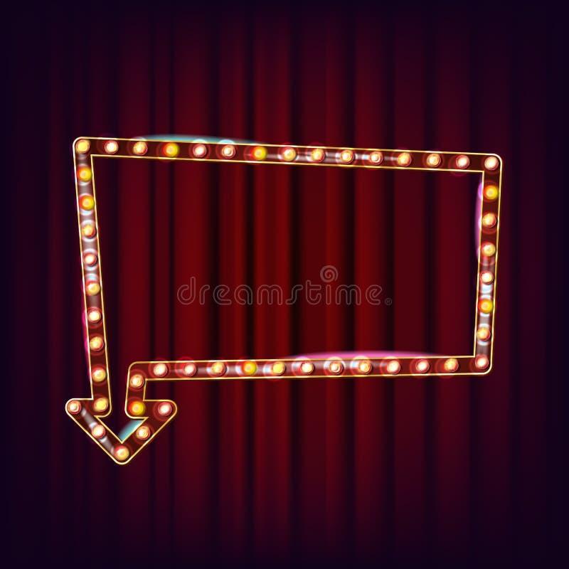 Vetor retro do quadro de avisos Placa clara de brilho do sinal Quadro realístico da lâmpada elemento 3D de incandescência Néon il ilustração stock