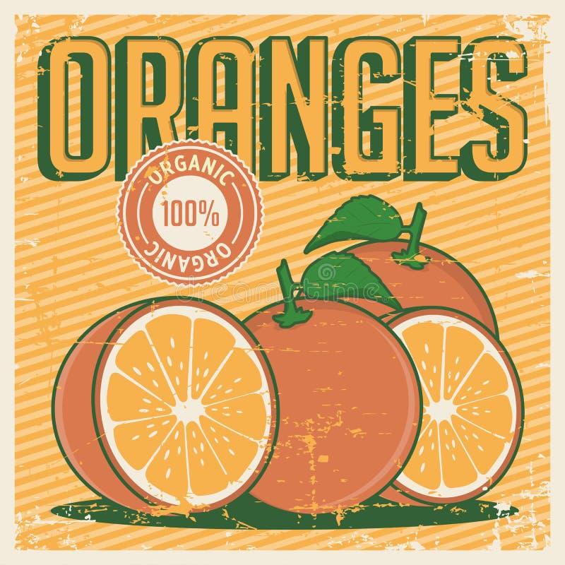 Vetor retro do Signage do vintage alaranjado das laranjas ilustração royalty free