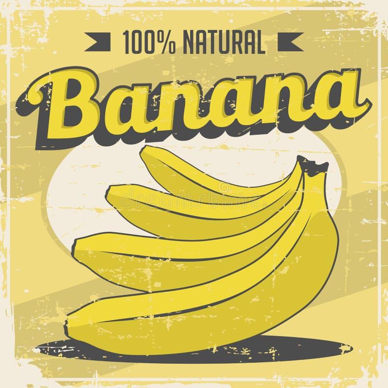 Vetor retro do Signage do vintage da banana ilustração royalty free