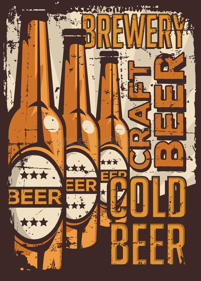 Vetor retro do Signage do vintage da cerveja fria ilustração royalty free
