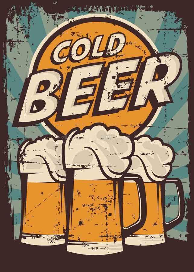 Vetor retro do Signage do vintage da cerveja fria ilustração stock