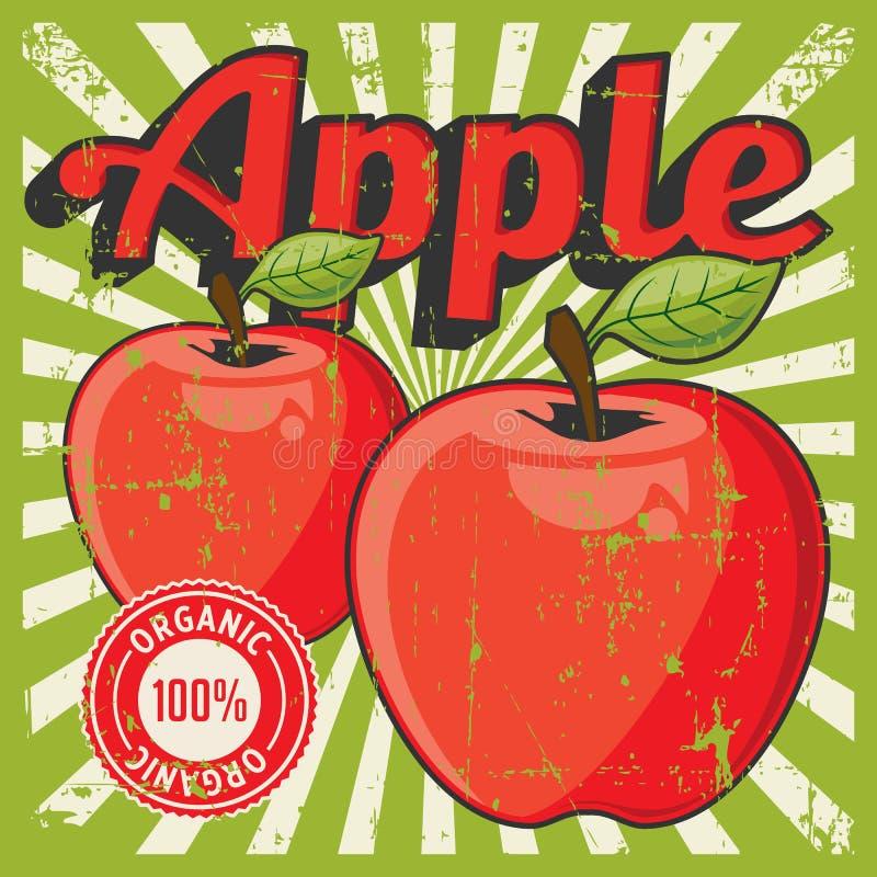 Vetor retro do Signage do vintage de Apple ilustração do vetor