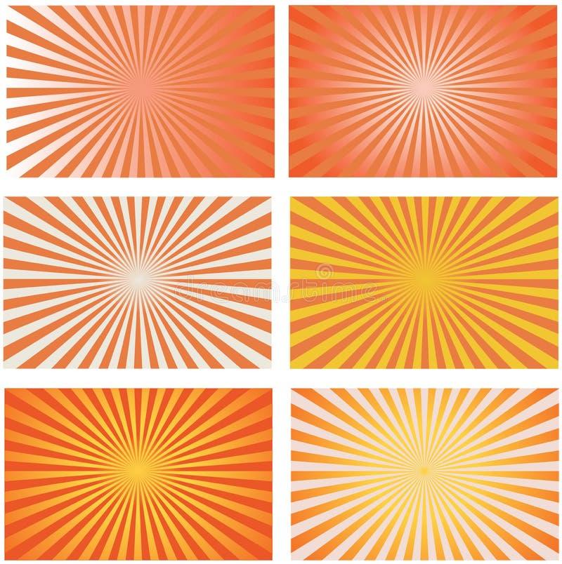 Vetor retro dos fundos do sunburst alaranjado ajustado ilustração stock