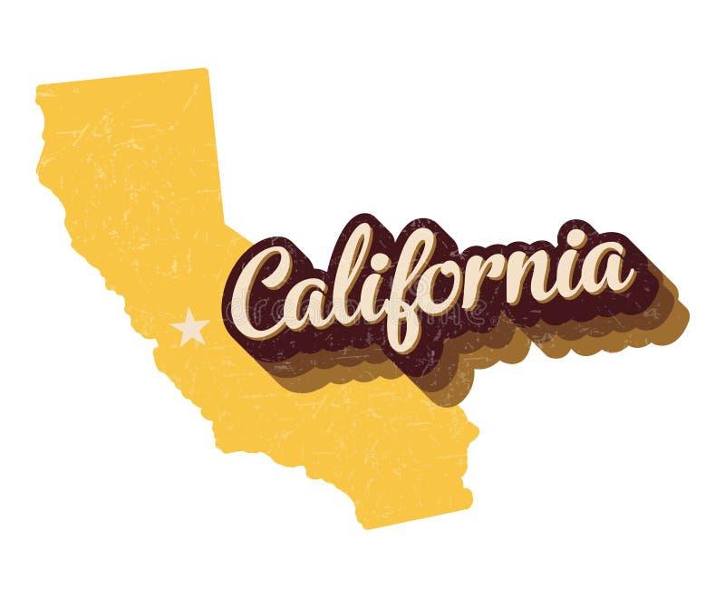 Vetor retro Logo Graphic dos Estados da Califórnia 70s com aflição Textured ilustração royalty free