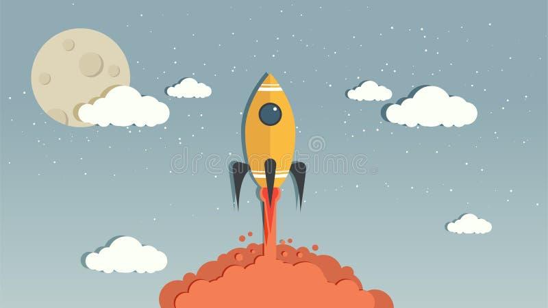 Vetor Rocket no céu azul fotografia de stock