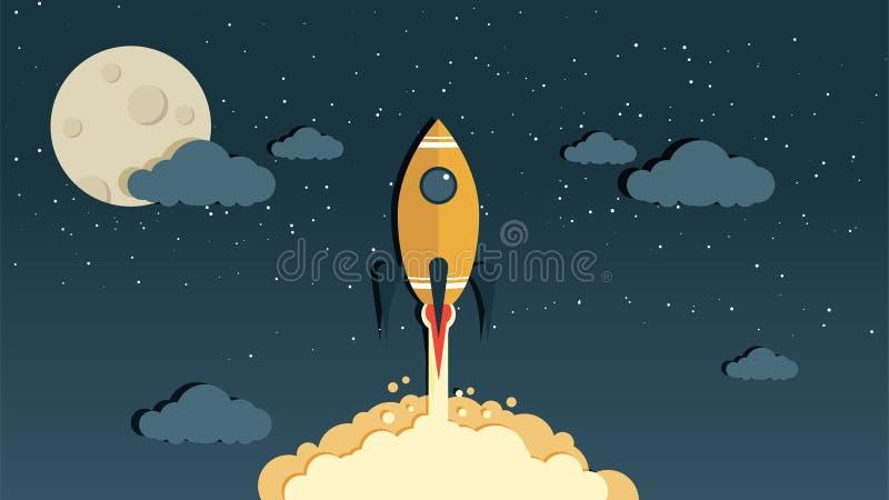 Vetor Rocket no céu noturno fotografia de stock royalty free