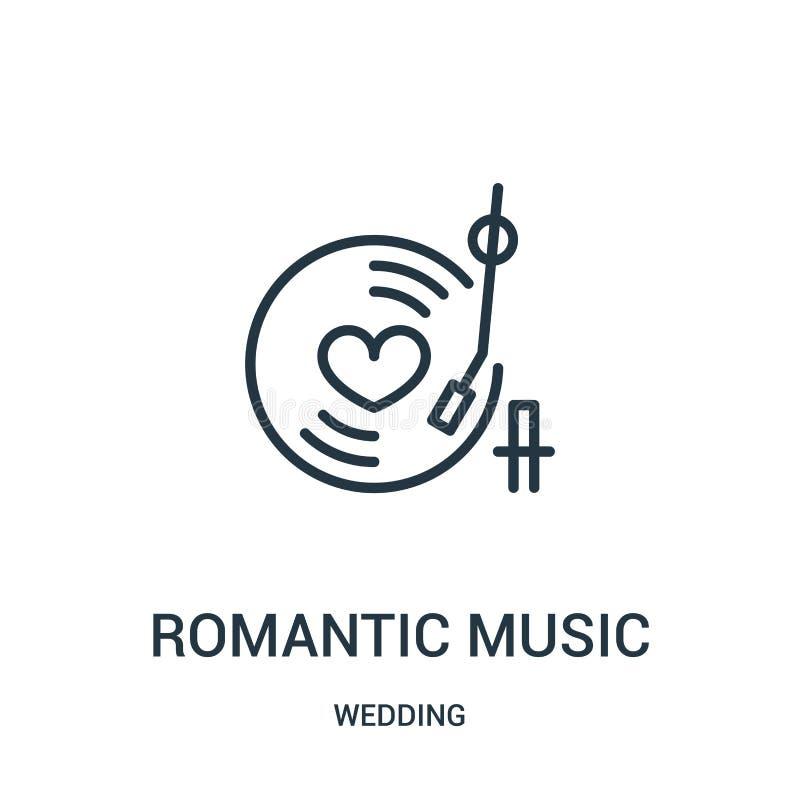 vetor romântico do ícone da música da coleção do casamento Linha fina ilustração romântica do vetor do ícone do esboço da música  ilustração royalty free