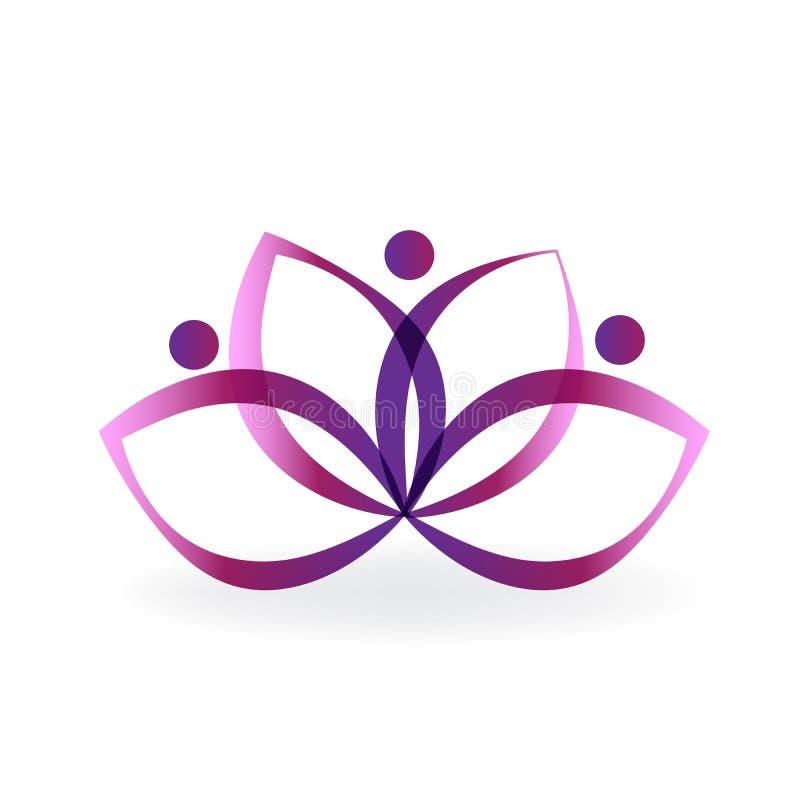 Vetor roxo do ícone da arte da flor dos lótus do logotipo ilustração do vetor