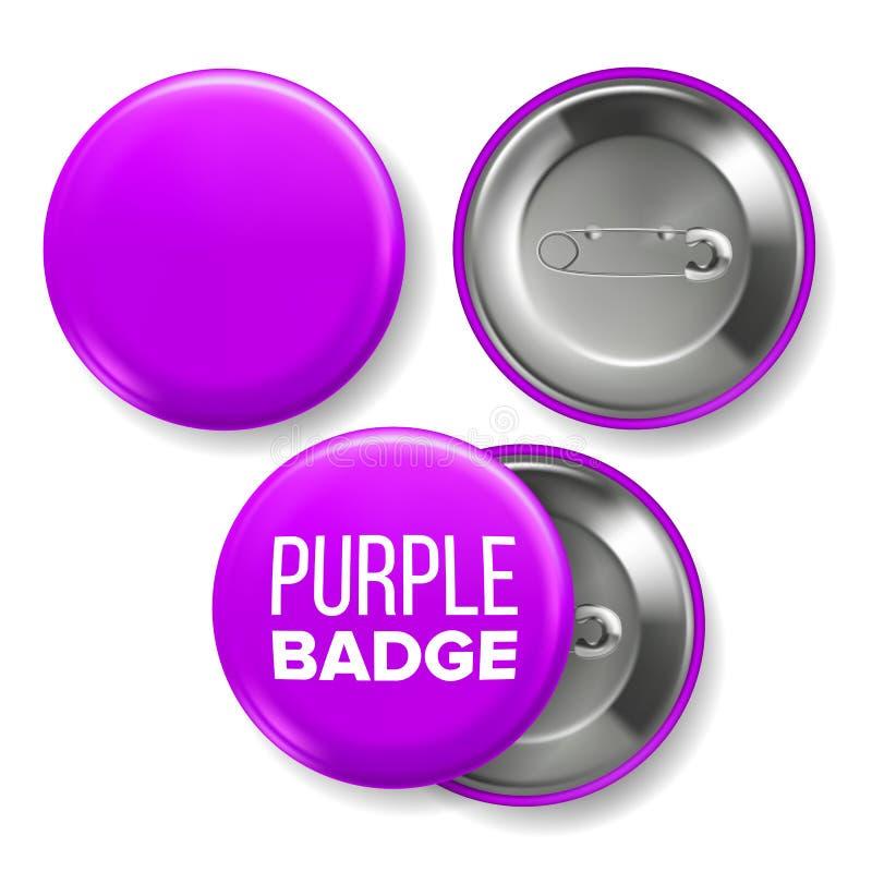 Vetor roxo do modelo do crachá Pin Brooch Purple Button Blank Dois lados Parte dianteira, vista traseira Projeto de marcagem com  ilustração stock