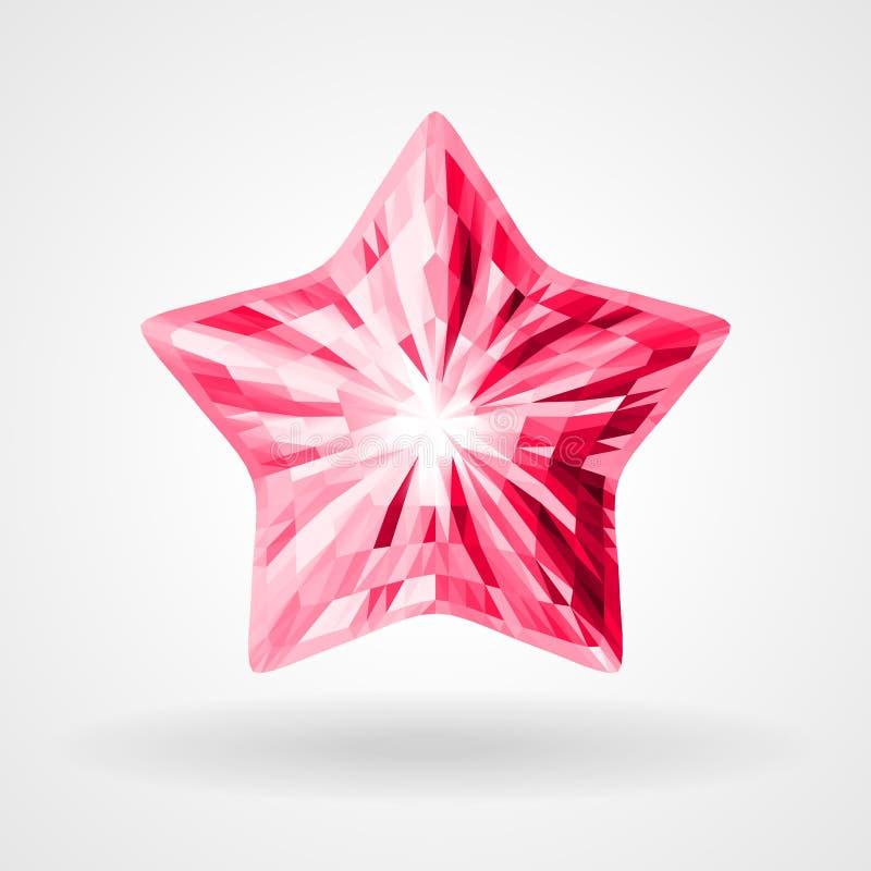 Vetor Ruby Five Pointed Star no projeto triangular ilustração do vetor