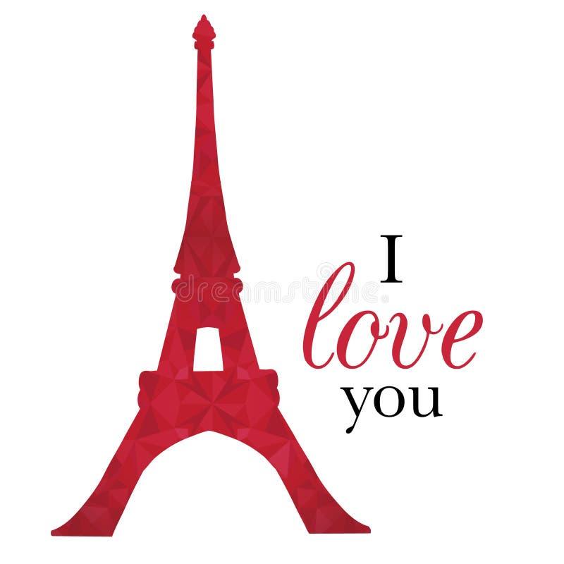 Vetor Ruby Red Eifel Tower Paris no dia de Valentim do St do amor Aperfeiçoe para cartão temáticos do curso, cartões ilustração royalty free