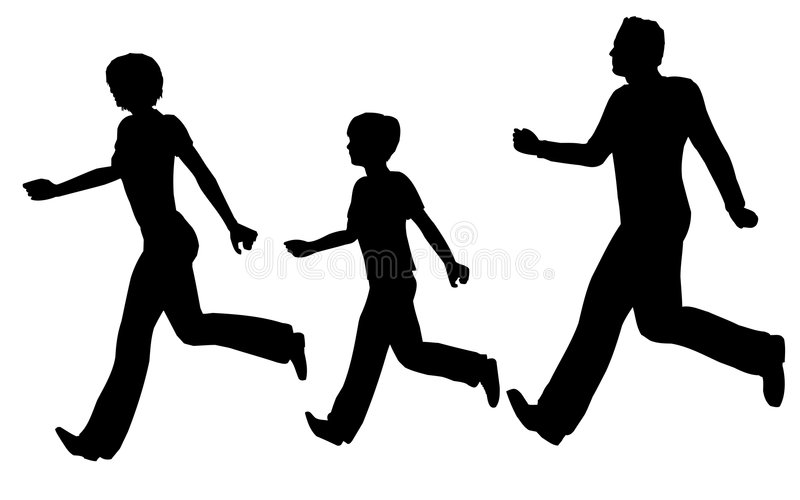 Vetor Running da família ilustração stock