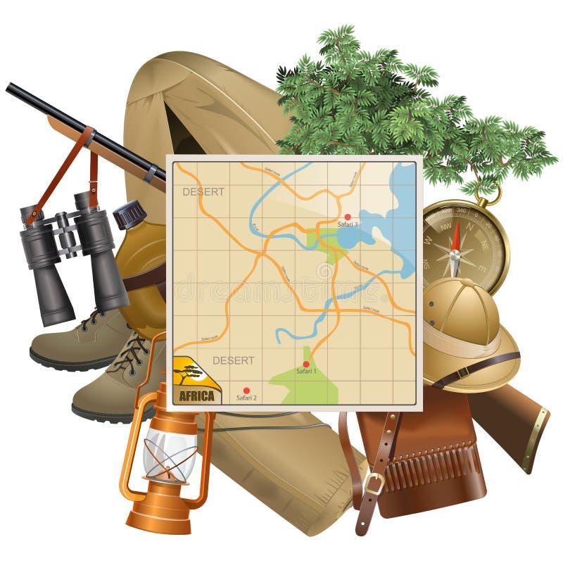 Vetor Safari Concept com mapa ilustração stock