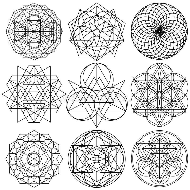 Vetor sagrado dos símbolos da geometria - grupo 03 ilustração stock