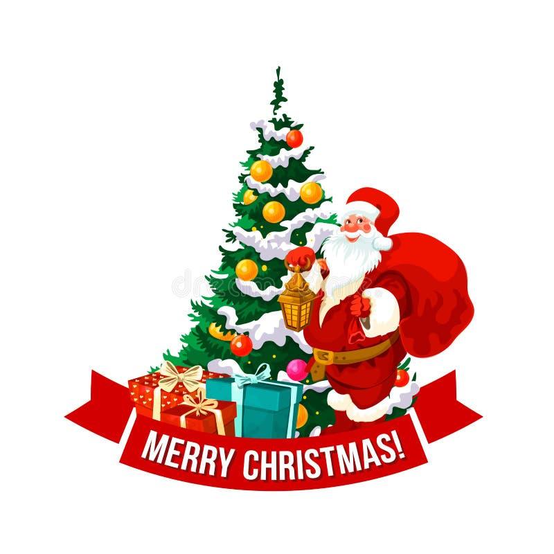 Vetor Santa do Feliz Natal e ícone da árvore ilustração stock