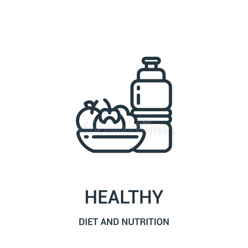 vetor saudável do ícone da coleção da dieta e da nutrição Linha fina ilustração saudável do vetor do ícone do esboço Símbolo line ilustração stock