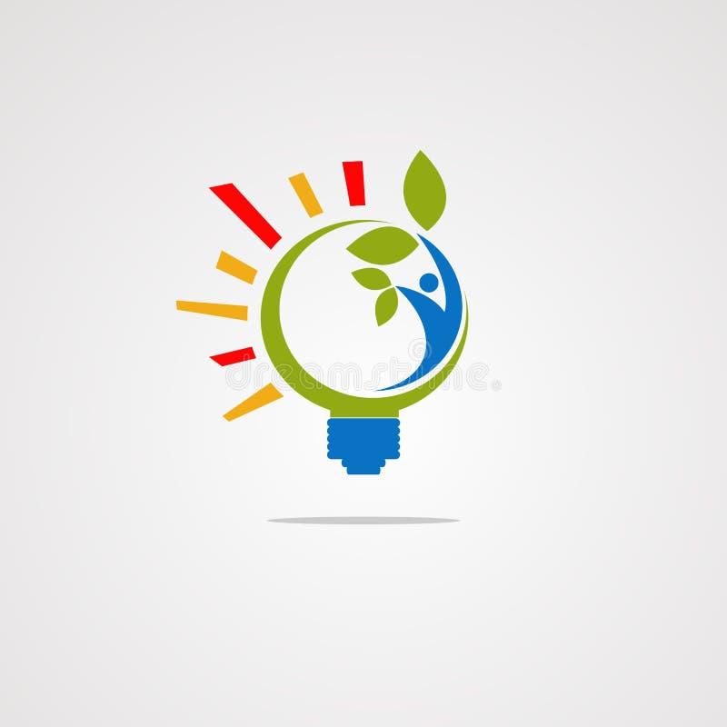 Vetor saudável do logotipo do bulbo com ser humano e folha ícone, elemento, e molde para a empresa ilustração do vetor