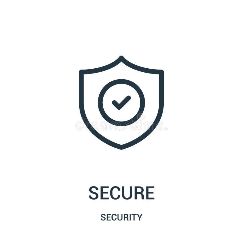 vetor seguro do ícone da coleção da segurança Linha fina ilustra??o segura do vetor do ?cone do esbo?o ilustração royalty free