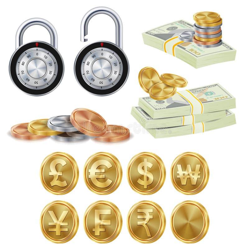 Vetor seguro do conceito da finança Moedas do metal do ouro ilustração royalty free