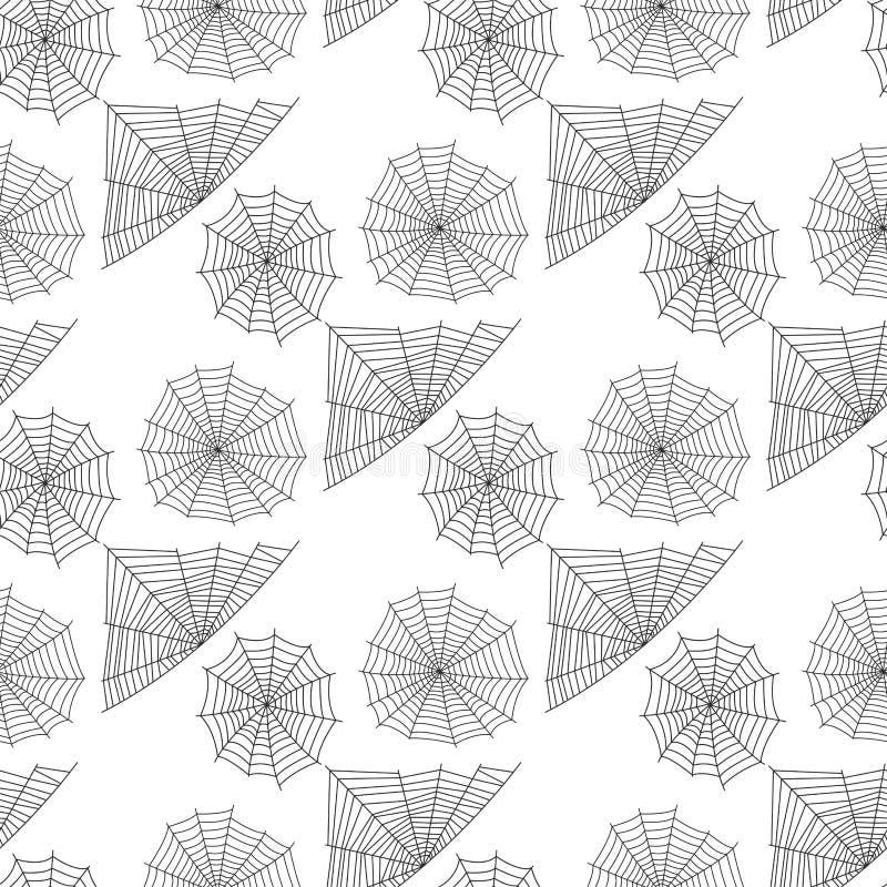 Vetor sem emenda animal assustador liso gráfico do fundo do teste padrão do medo do aracnídeo da silhueta da Web de aranha ilustração do vetor