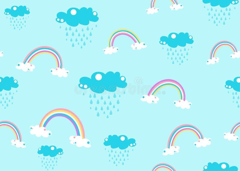 Vetor sem emenda bonito do fundo do teste padrão da nuvem do arco-íris e de chuva do unicórnio isolado no azul ilustração stock