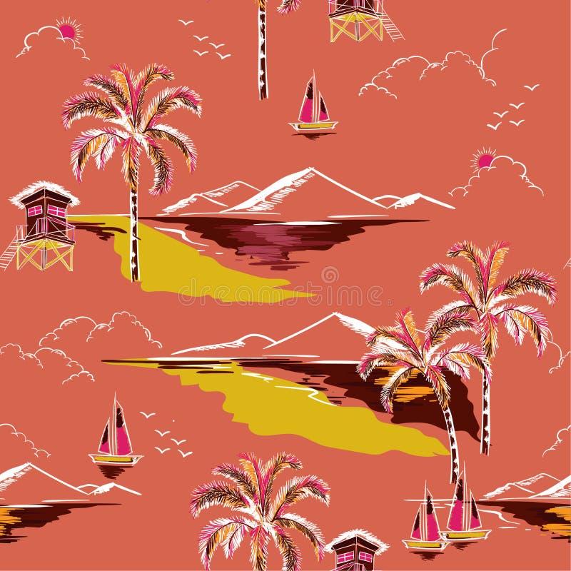 Vetor sem emenda bonito do teste padrão da ilha do vintage Paisagem com ilustração stock