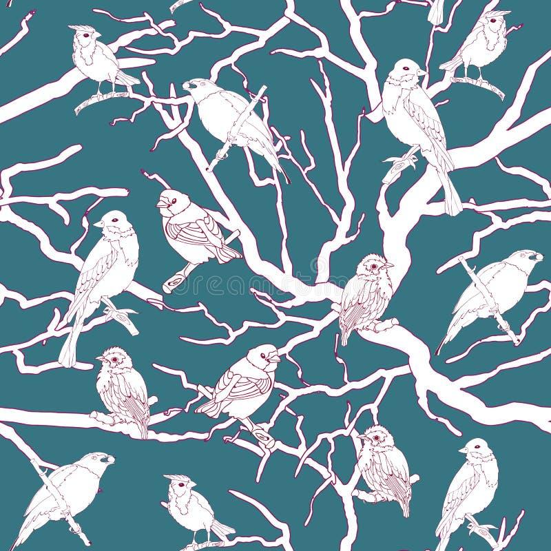 Vetor sem emenda criativo e colorido do teste padrão dos pássaros e das borboletas da natureza ilustração do vetor