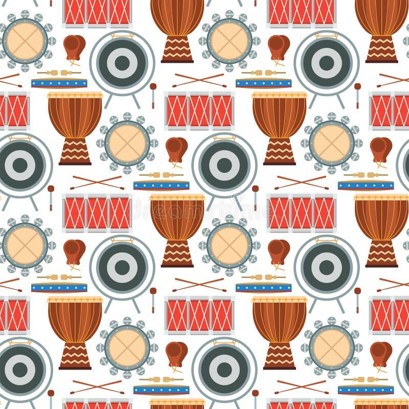 Vetor sem emenda de madeira do desempenho do músico da percussão do fundo do teste padrão do instrumento de música do ritmo do ci ilustração do vetor
